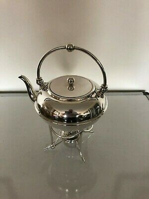 Beautiful Silver Plated Spirit Kettle, Stand & Burner Hardly Used (S K 761)