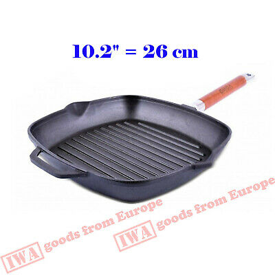 """Cast Iron Skillet  Square Grill Pan w/ Removable Handle Heavy Durable Eco 10,2"""""""