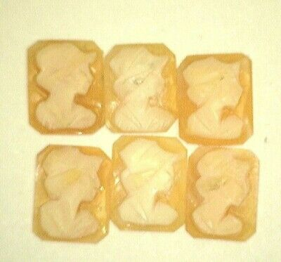 NOS Antique Rectangle Shell CAMEO Stone Woman Face Right 10 mm x 8 mm #AA82