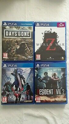 Bundle of 4 Top Sony Playstation 4 games inc.(Days Gone, World War Z + 2 more)