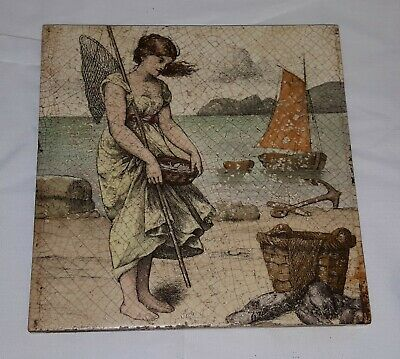 Minton vintage Arts & Crafts antique woman on seashore tile / plaque