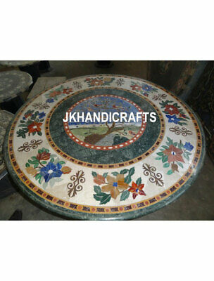 """Round 48"""" Marble Dining Table Top Custom Marquetry Inlay Hallway Decor Gifts"""