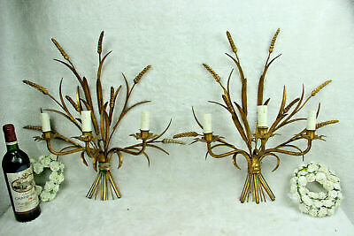 PAIR XXL Hollywood regency 3 arm Italian Gilt Metal Wheat Sheaf Wall Sconces