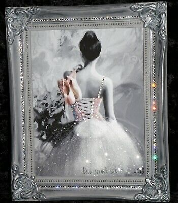 Ballerina Glitter Canvas Picture. Print ONLY or with Frame. .