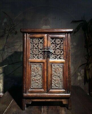 """15"""" Chinese old antique huanghuali wood handcarved dragon Lockers Chests statue"""