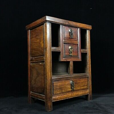 """16"""" Chinese old antique huanghuali wood handcarved bedside cupboard statue"""