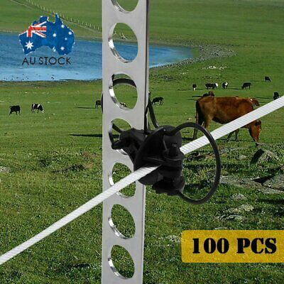 100x STEEL POST PINLOCK INSULATOR - Electric Fence Energiser Poly Tape Wire @Q