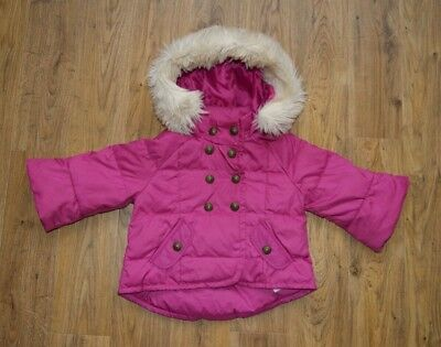 Juicy Couture pink warm hooded jacket coat with fur for girl age 2-3 years