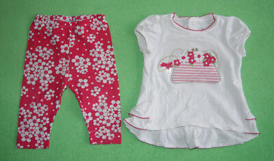 Mayoral white top with flowers and leggings for a girl 12 months outfit set 80cm