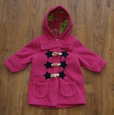 Next pink fleece coat jacket with hood and stars for girl 6-9 months
