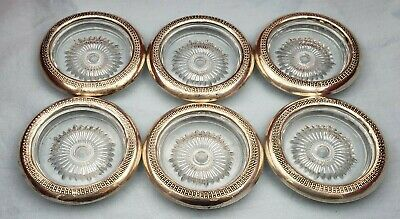 Set of 6 Crystal Coasters with Sterling Silver & Fancy Design by S/C Co. #6883