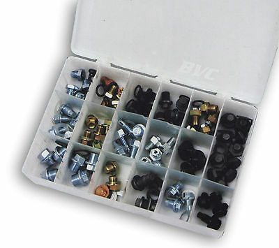 76 PC Oil Pan Drain Plug Replacement Assortment Oversized Bolts Washers ATD-385