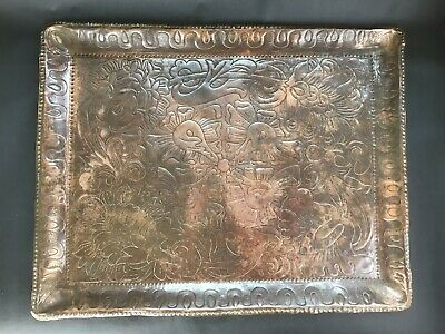 Arts And Craft Hand Beaten Copper Tray