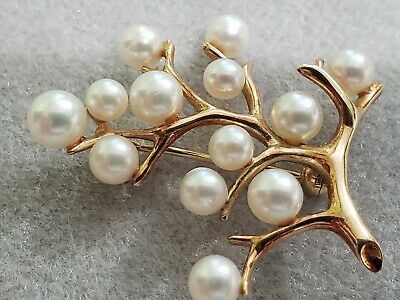 VINTAGE MIKIMOTO TREE OF LIFE SOLID 14 KT GOLD 13 AKOYA PEARL PIN BROOCH 6 Grams