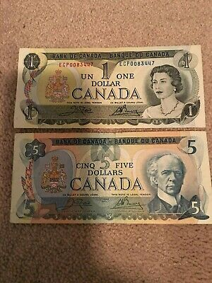 Bank of Canada Five $5 Dollars Banknote 1979 & One $1 Banknote 1973