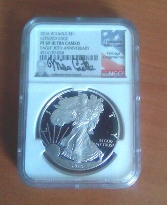 2016-W American Silver Eagle Proof - NGC PF69 UCAM - Mike Castle Signed