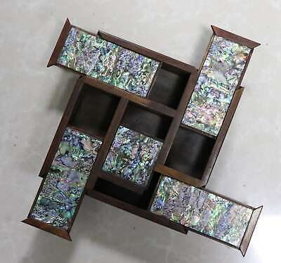 Asian Collectable Boxwood Inlay Conch Carve Old Noble Girl Delicate Jewelry Box