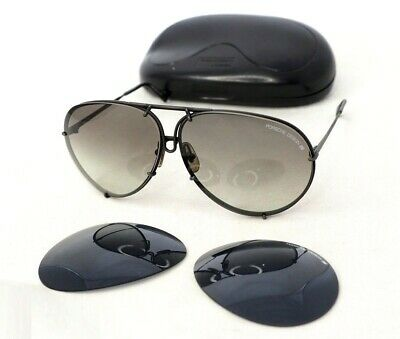 PORSCHE DESIGN CARRERA 5621 large black gradient gray sunglasses aviator