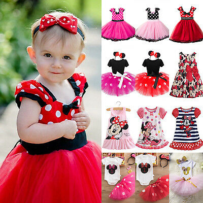 Kids Girls Princess Mickey Minnie Mouse Tutu Dress Skirt Outfits Party Ball Gown