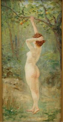 FINE 19th CENTURY FRENCH SCHOOL NUDE PICKING FRUIT Antique Oil Painting