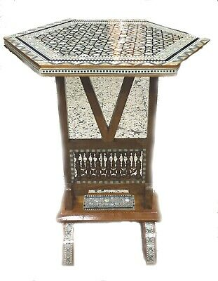 """Awesome Moroccan handmade mother of pearl Coffee side Flip wood table 24 wide"""""""
