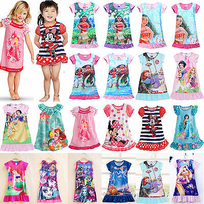 Kids Girls Cartoon Nightie Nightdress Sleepwear Pyjamas Nightgown T Shirt Dress