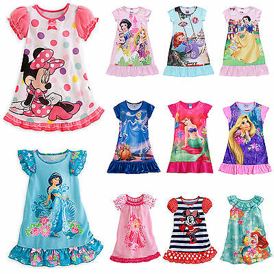 Kids Girls Princess Cartoon Nightie Nightdress Pyjama Sleepwear Nightwear Summer