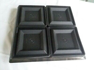 Tupperware elegant 9 piece Get Togethers BLACK acrylic square & divided servers