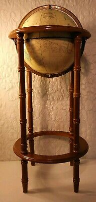 "Cram's Imperial World 10"" Globe With 30"" Tall Wooden Floor Stand Vintage Maps"