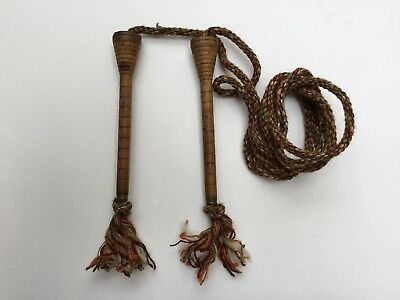 Antique Victorian Sipping Rope Turned Wood Handles Treen Brass Ends Quality Rope