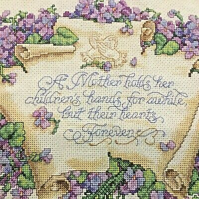 Mother Holds Her Childrens Hearts Forever Violet Cross Stitch Completed Finished