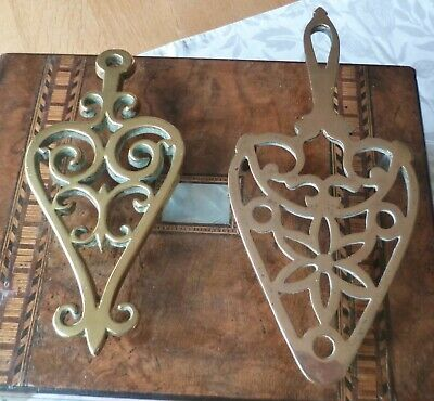 Two Gorgeous Antique Victorian Edwardian Brass Trivet Stands-Lovely Design
