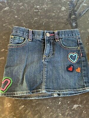 Girls GAP Denim Skirt With Hearts And Rainbows Lovely Aged 5 Years