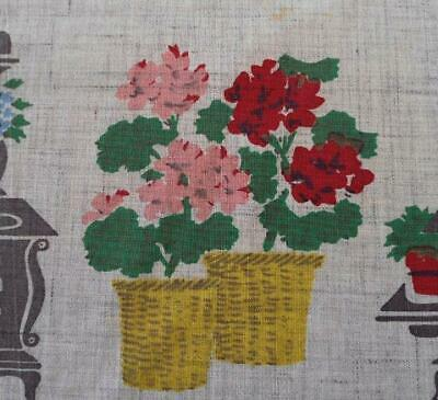 Vintage 50s Printed Cotton Tablecloth Pink Red Geranium Flower Gray Floral 50""