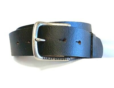 Harley Davidson Simple Buckle Genuine Leather Belt Vintage Black Made in USA 36""
