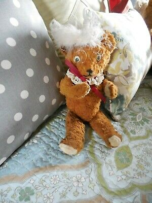 Vintage Fully Jointed Caramel Mohair Teddy with Vintage Lace Collar; Feather