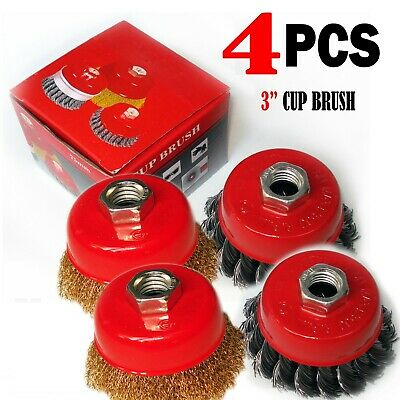 "4 PCS  3"" x 5/8"" 11 NC FINE  Wire Cup Brush  - For Angle Grinders Wheel"