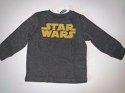 """NWT Old Navy Baby Boy T-Shirt Size 18-24 Months """"StarWars"""" Gray Long Sleeve"""