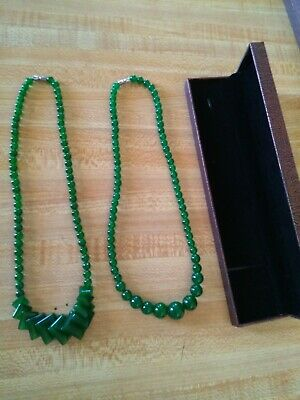 Two Natural Taiwan spinach green jade necklaces  One  money with nice box