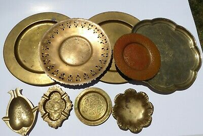 Vintage Sold Brass Plates Tray Dishes Embossed Enameled Etched - Lot of 9