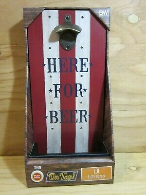 Boston Warehouse Wall Mounted Wooden With Led Lights Bar Pub Beer Bottle Opener