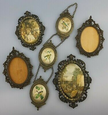 7 x VINTAGE DECORATIVE METAL PICTURE FRAMES MADE IN ITALY