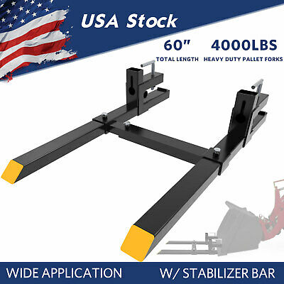 """4000Lbs Tractor Clamp Pallet Forks For Skid Steer Bucket 60"""" Quick Attach Steel"""