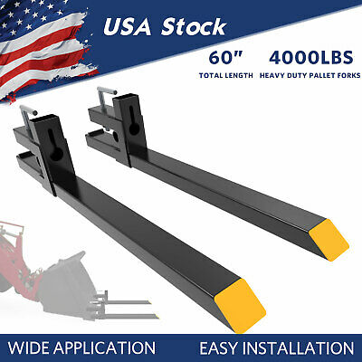 "4000Lbs Tractor Pallet Forks Clamp On Skid Steer Bucket 60"" Quick Attach Forks"