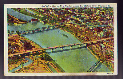 OTTUMWA IOWA IA Bird's Eye View Viaduct Des Moines River Vintage Postcard PC