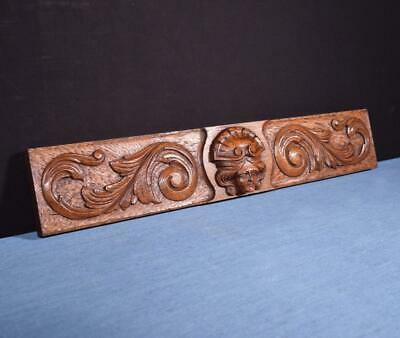 *French Antique Carved Architectural Panel Solid Oak Wood with Face Slavage