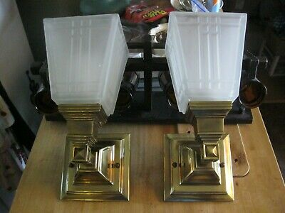 Vintage Pair Ornate Brass Wall Sconces Lamps Thick Glass Shades