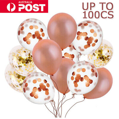 NEW 20-30cm Rose Clear Confetti Sequins Latex Helium Balloon Party Balloons AU