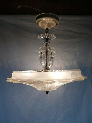 antique Art Deco sunflower chandelier ceiling light fixture Hollywood Regency