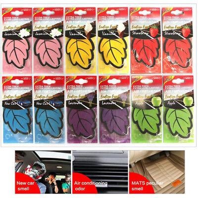 6x/Lot Auto Shine Paper Hanging Car Air Freshener Vanilla perfumed Leaf Shape AA